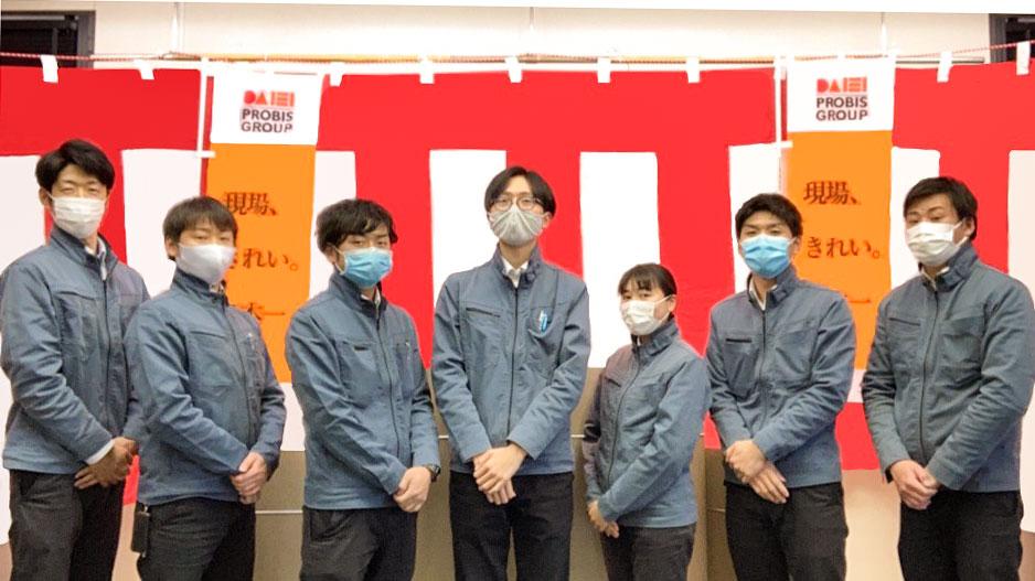 めざせ!現場きれい日本一。当社住宅事業部工務担当マスクしてます。