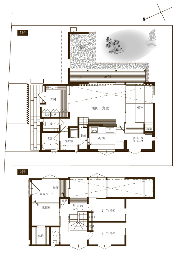 グリーンスタイルの建売住宅です。中庭、東屋、縁側。和を楽しみ、ここちよく。